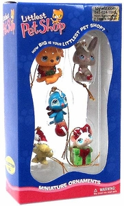Littlest Pet Shop Miniature Holiday Ornaments Set [Puppy, Bunny, Birdie, Turtle & Mouse]