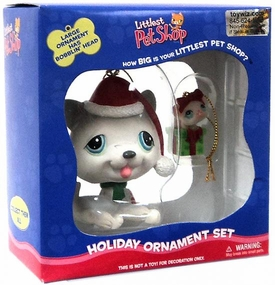 Littlest Pet Shop Holiday Ornament Set Bobble Puppy & Miniature Mouse