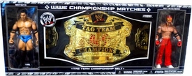 WWE Jakks Pacific Wrestling Exclusive Tag Team Championship Belt with Batista & Rey Mysterio Action Figures