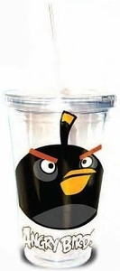 Angry Birds 16oz. Tumbler With Lid & Straw Black Bird