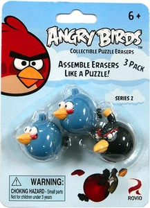 Eraseez Collectible Puzzle Eraser 3-Pack Angry Birds [2 Blue & 1 Black]