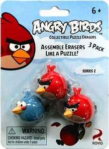 Eraseez Collectible Puzzle Eraser 3-Pack Angry Birds [2 Red & 1 Blue]