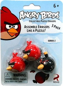Eraseez Collectible Puzzle Eraser 3-Pack Angry Birds [2 Red & 1 Black]