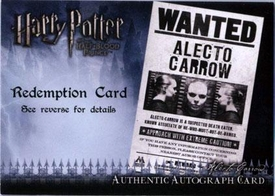 Harry Potter and the Half-Blood Prince Authentic Autograph Redemption Card Suzanne Toase as Alecto Carrow