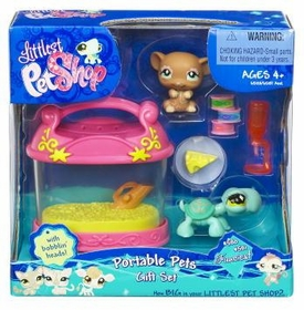 Littlest Pet Shop Exclusive Fanciest Portable Pets Gift Set Brown Mouse & Turtle