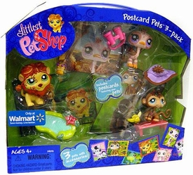 Littlest Pet Shop Exclusive Postcard Pets 3-Pack Monkey, Lion & Ostrich