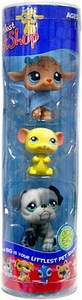 Littlest Pet Shop Tube 3-Pack Lamb, Yellow Mouse & Gray Bulldog