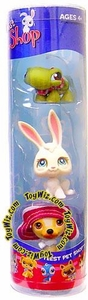 Littlest Pet Shop Tube 3-Pack Turtle, White Bunny & Dog with Red Hat