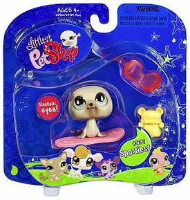 Littlest Pet Shop Pets On the Go Seal with Pink Sled Damaged Package, Mint Contents!