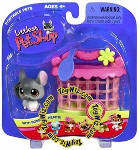Littlest Pet Shop Pets On the Go Gray Chinchilla with Hutch