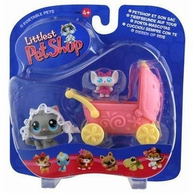 Littlest Pet Shop Pets On The Go Figure Cat with Cozy Carriage Hard to Find!