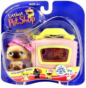Littlest Pet Shop Pets On The Go Figure Persian Cat with Maroon Bow & Carry Case