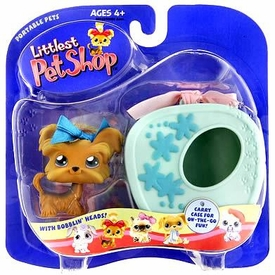 Littlest Pet Shop Pets On The Go Figure Shihtzu Puppy Dog with Blue Carry Case
