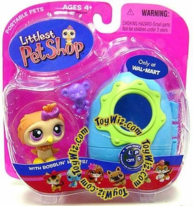 Littlest Pet Shop Pets On the Go Exclusive Figure Owl with Purple Bowtie and Carrier