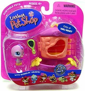 Littlest Pet Shop Pets On the Go Exclusive Figure Pink Bird with Mirror & Feeder