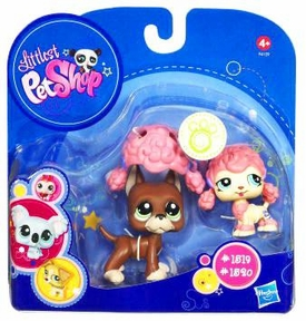 Littlest Pet Shop 2010 Assortment 'A' Series 4 Collectible Figure Boxer & Pink Poodle