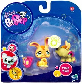 Littlest Pet Shop 2010 Assortment 'A' Series 1 Collectible Figure Bunny & Turtle with Bunny Ears & Shell