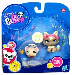 Littlest Pet Shop 2010 Assortment 'A' Series 2 Collectible Figure Mouse with Halo & Cat with Devil Ears