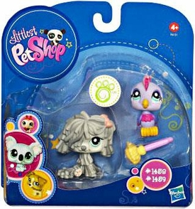 Littlest Pet Shop 2010 Assortment 'A' Series 3 Collectible Figure Mopdog & Bird with Mop