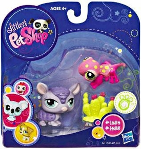 Littlest Pet Shop 2010 Assortment 'A' Series 3 Collectible Figure Purple Armadillo & Pink Gecko with Cactus
