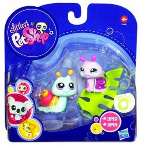Littlest Pet Shop 2010 Assortment 'B' Series 4 Collectible Figure Pink & Blue Snails with Leaf
