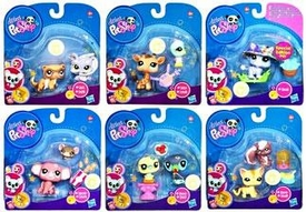 Littlest Pet Shop 2010 Assortment 'B' Series 5 Set of 6 Collectible Figures [Yorkie & Ferret, Giraffe & Bird, Rhino, Cat & Skunk, Mouse & Elephant, Toucan & Bird]