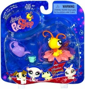 Littlest Pet Shop 2009 Assortment 'A' Series 1 Collectible Figure Yellow Butterfly with Flower Perch & Watering Can