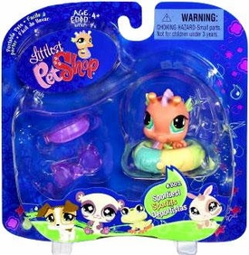 Littlest Pet Shop 2009 Assortment 'A' Series 1 Collectible Figure Pink Seahorse with Beach Tube