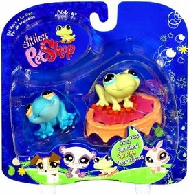 Littlest Pet Shop 2009 Assortment 'A' Series 1 Collectible Figure Blue & Green Frogs with Trampoline