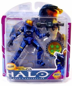 Halo 3 McFarlane Toys Series 6 [MEDAL EDITION] Exclusive Action Figure BLUE Spartan Soldier Eva with Rocket Launcher