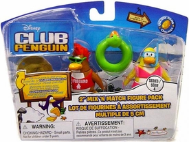 Disney Club Penguin Series 4 Mix 'N Match Mini Figure Pack Lifeguard & Snorkeler [Includes Coin with Code!]