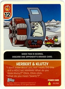 Topps Club Penguin Card-Jitsu Game Basic Series 2 Single Foil Power Card #52 Herbert & Klutzy