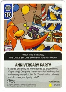 Topps Club Penguin Card-Jitsu Game Basic Series 2 Single Foil Power Card #54 Anniversary Party