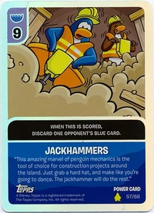 Topps Club Penguin Card-Jitsu Game Basic Series 2 Single Foil Power Card #57 Jackhammers