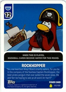 Topps Club Penguin Card-Jitsu Game Basic Series 2 Single Foil Power Card #60 Rockhopper