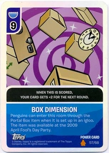 Topps Club Penguin Card-Jitsu Game Fire Series 3 Single Foil Power Card #57 Box Dimension