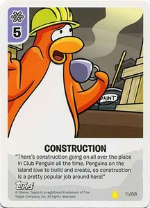 Topps Club Penguin Card-Jitsu Game Basic Series 2 Single Card #11 Construction