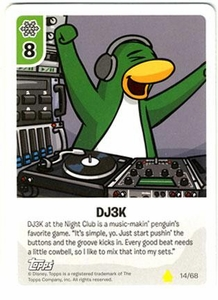 Topps Club Penguin Card-Jitsu Game Basic Series 2 Single Card #14 DJ3K