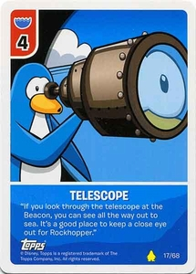 Topps Club Penguin Card-Jitsu Game Basic Series 2 Single Card #17 Telescope
