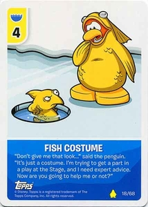 Topps Club Penguin Card-Jitsu Game Basic Series 2 Single Card #18 Fish Costume