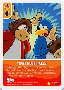 Topps Club Penguin Card-Jitsu Game Basic Series 2 Single Card #26 Team Blue Rally