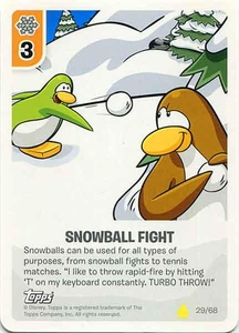 Topps Club Penguin Card-Jitsu Game Basic Series 2 Single Card #29 Snowball Fight