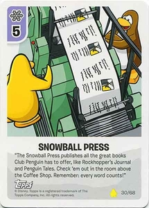 Topps Club Penguin Card-Jitsu Game Basic Series 2 Single Card #30 Snowball Press