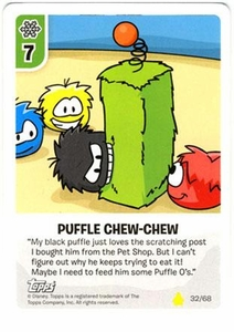 Topps Club Penguin Card-Jitsu Game Basic Series 2 Single Card #32 Puffle Chew-Chew