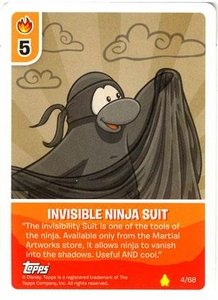 Topps Club Penguin Card-Jitsu Game Basic Series 2 Single Card #4 Invisible Ninja Suit