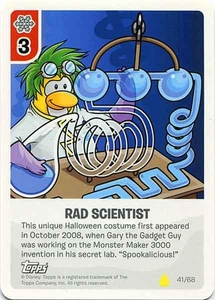 Topps Club Penguin Card-Jitsu Game Basic Series 2 Single Card #41 Rad Scientist