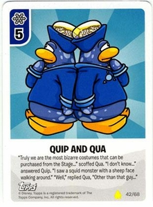 Topps Club Penguin Card-Jitsu Game Basic Series 2 Single Card #42 Quip and Qua
