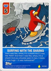 Topps Club Penguin Card-Jitsu Game Basic Series 2 Single Card #45 Surfing with the Sharks