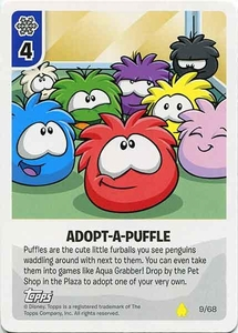 Topps Club Penguin Card-Jitsu Game Basic Series 2 Single Card #9 Adopt-A-Puffle