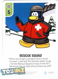 Topps Club Penguin Card-Jitsu Game Basic Series 1 Single Card #13 Rescue Squad